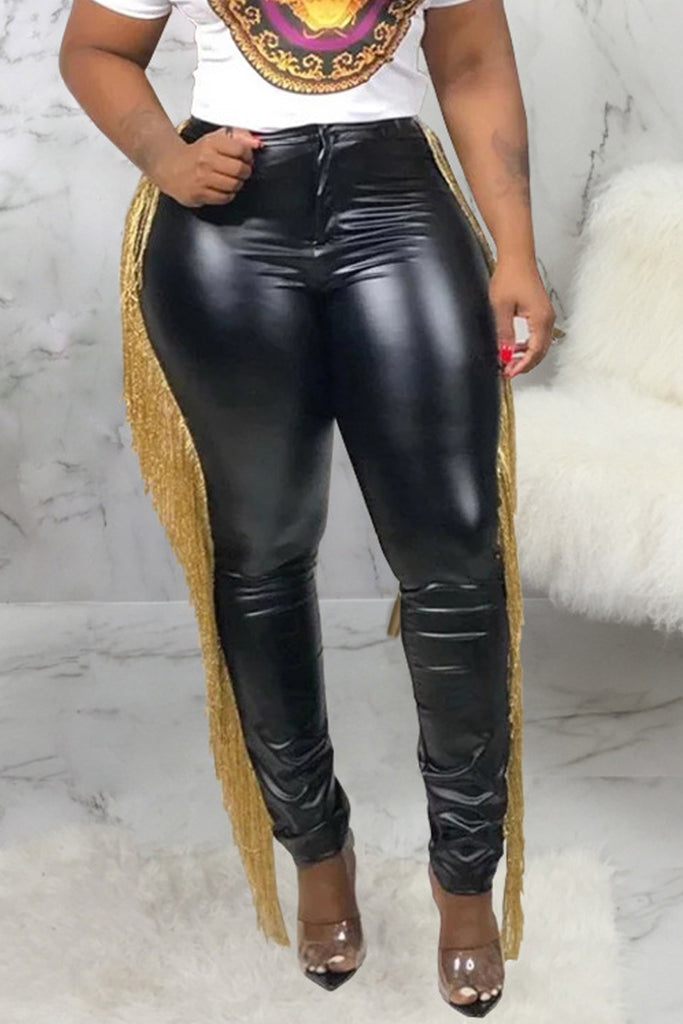 Tassel PU High Waist Solid Color Pants