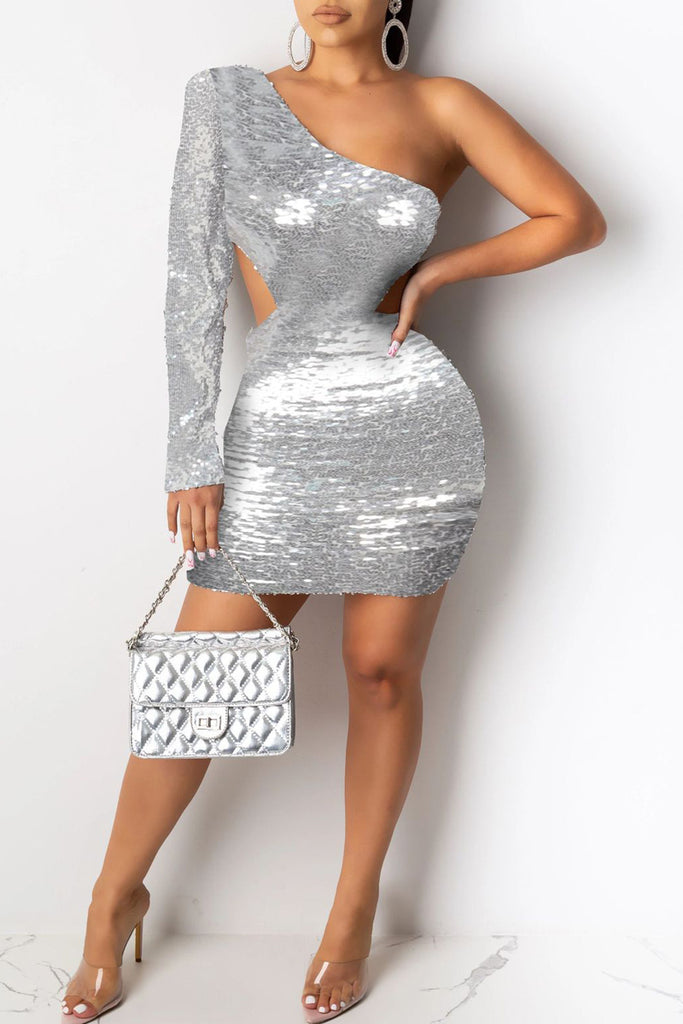 Sequin One Sleeve Hollow Out Party Mini Dress