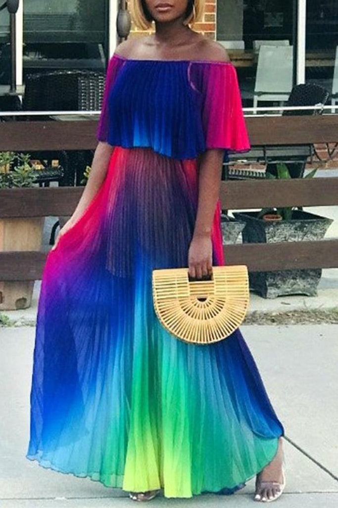 Off The Shoulder Gradient Print Maxi Dress