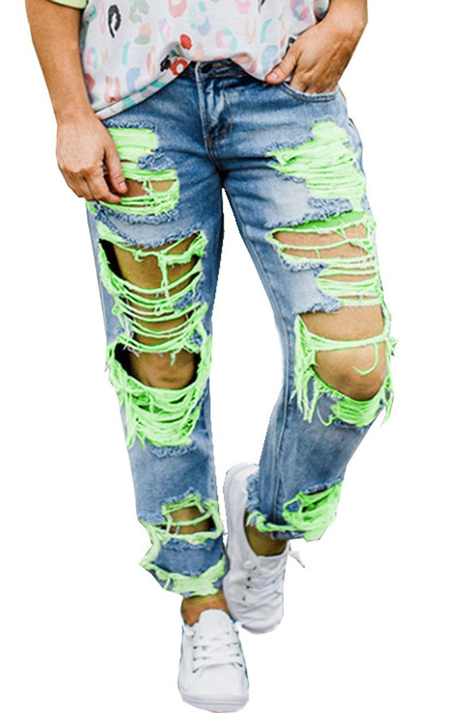 Color Patchwork Hole Distressed Jeans