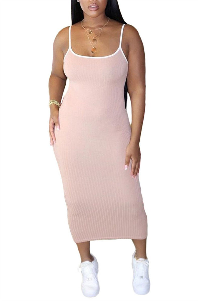 Solid Color Spaghetti Straps Midi Dress