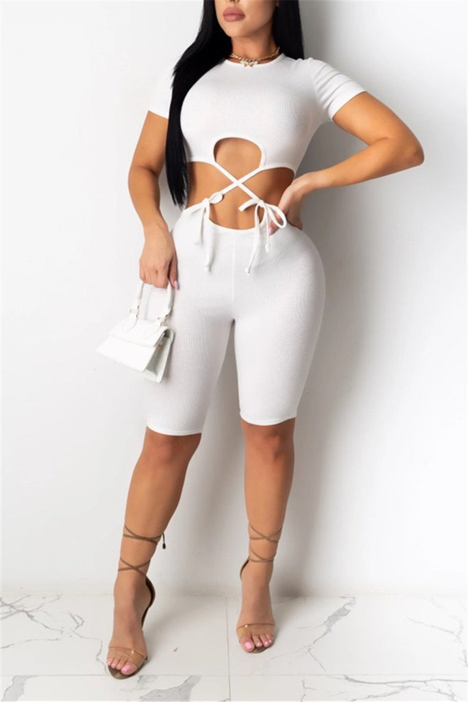 Hollow Out Tie Up Solid Color Romper