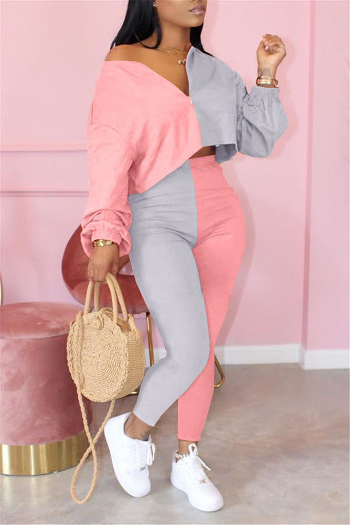 Color Block Quarter Zip Long Sleeve Two Piece Sets