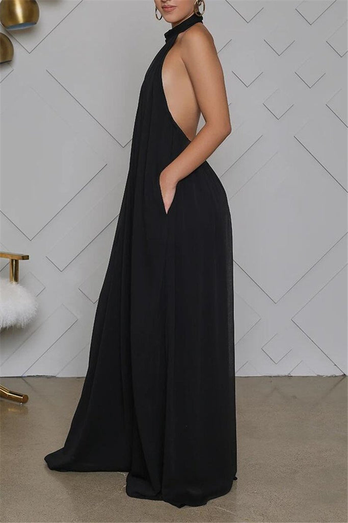 Open Back Solid Color Sleeveless Jumpsuit