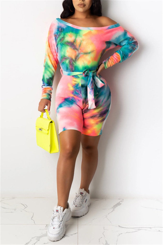 Skew Neck Tie Dye Long Sleeve Plus Size Romper