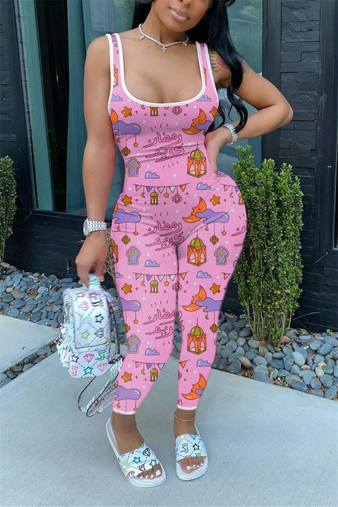 Cartoon Print Scoop Neck Sleeveless Jumpsuit
