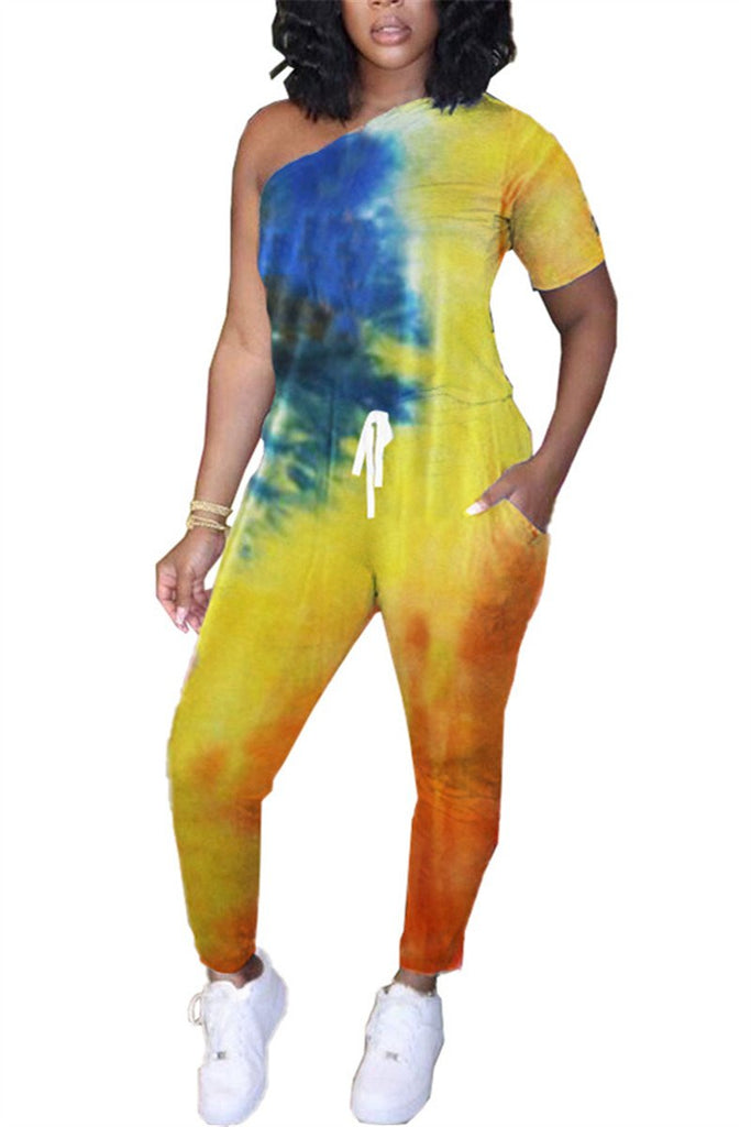One Shoulder Tie Dye Pocket Jumpsuit