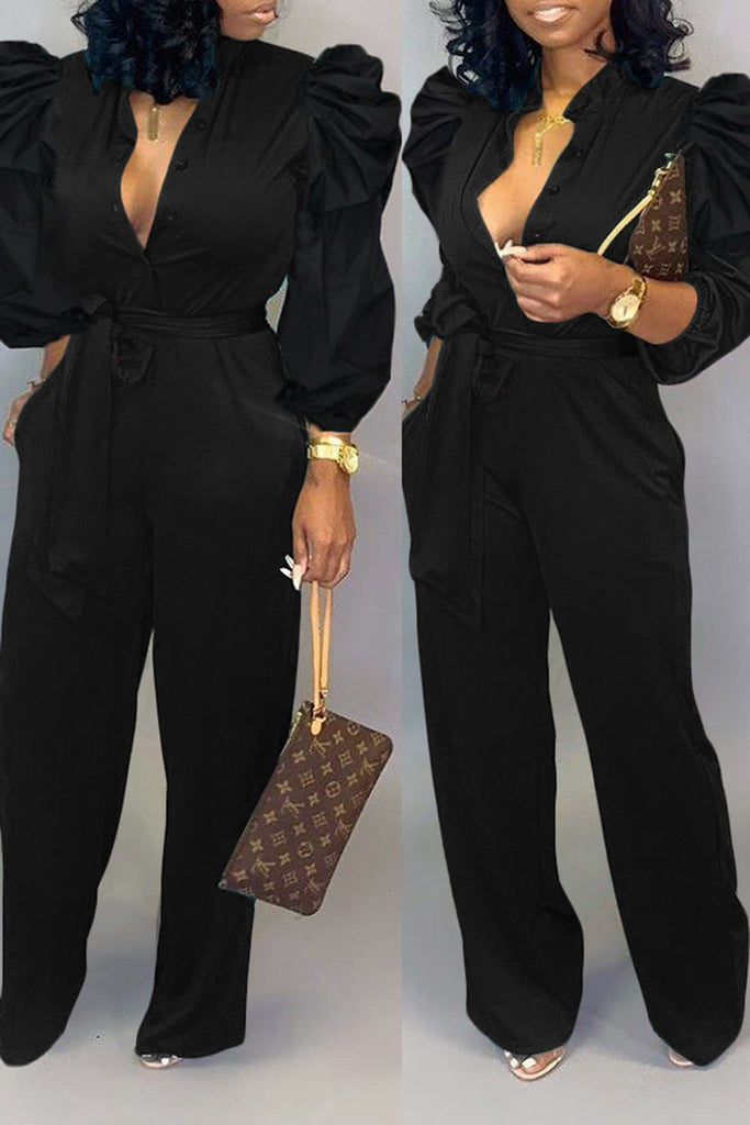 Puff Sleeve Solid Color Jumpsuit With Belt