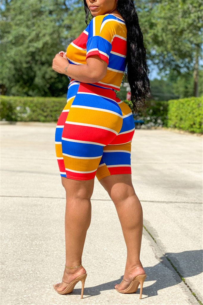Colorful Stripe Short Sleeve Casual Two Piece Sets