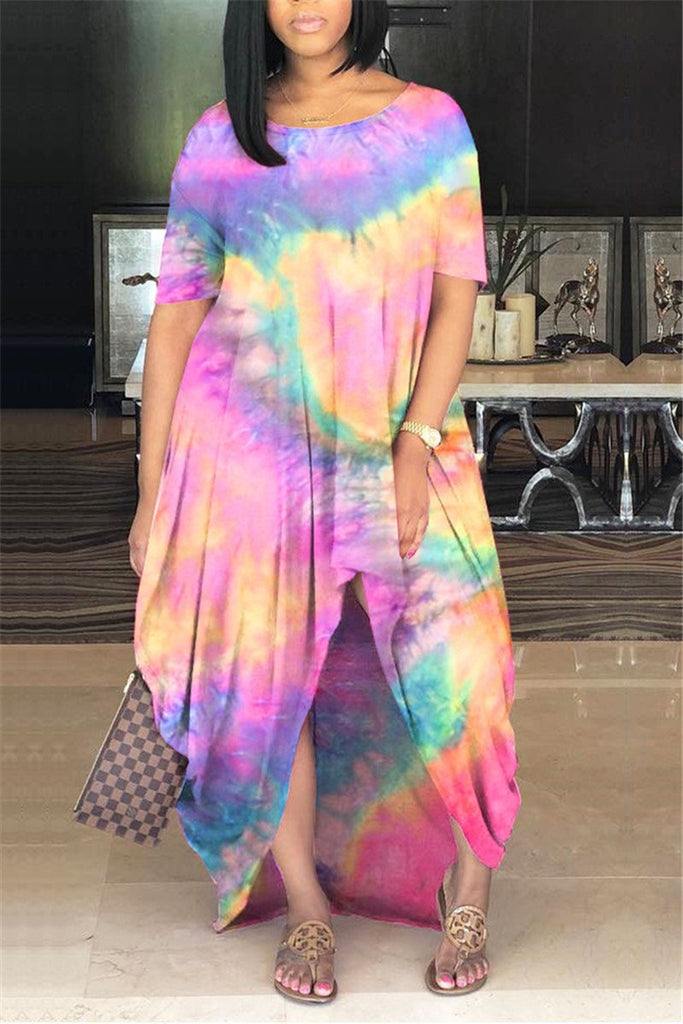 Plus Size Tie Dye Asymmetric Dress
