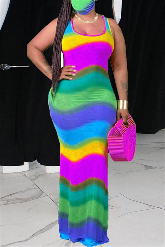 Plus Size Colorful Stripe Sleeveless Maxi Dress