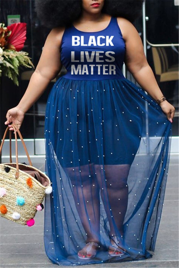 Plus Size Letter Print Mesh Panel Sexy Dress