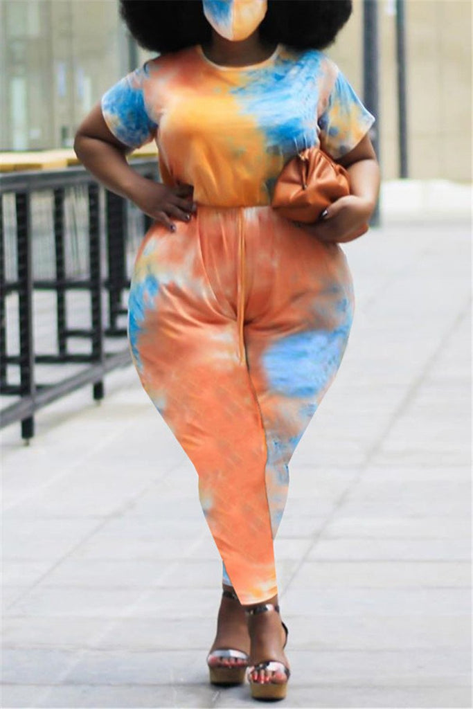 Plus Size Tie Dye Short Sleeve Jumpsuit