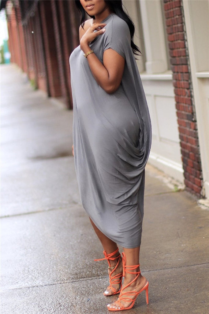Skew Neck Solid Color Casual Dress