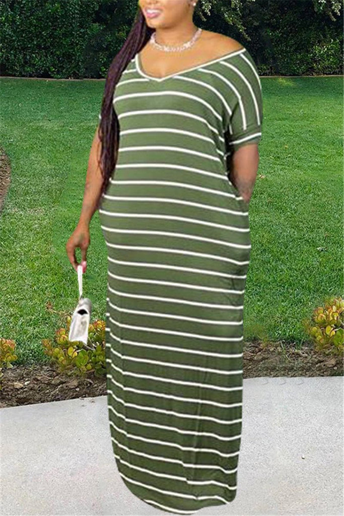 Plus Size Stripe Print Slit Maxi Dress
