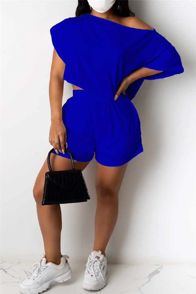 Solid Color Skew Neck Pocket Casual Two Piece Sets