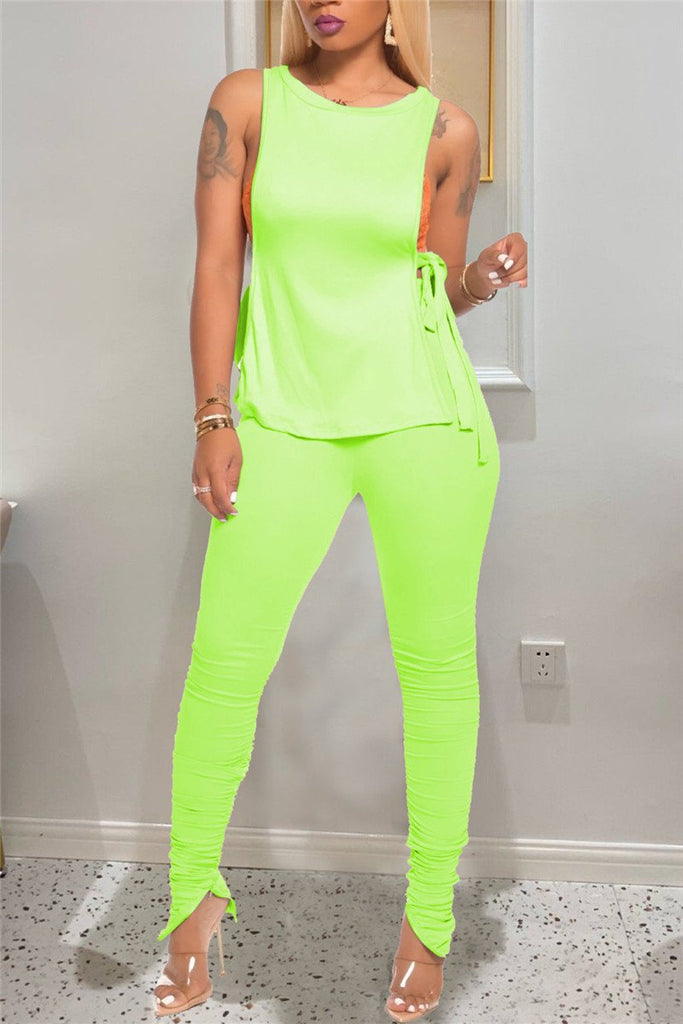 Tie Up Solid Color Sleeveless Two Piece Sets