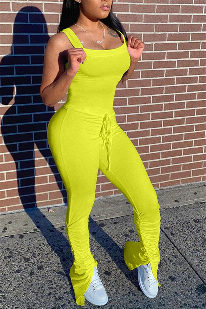Solid Color Sleeveless Drawstring Scrunched Jumpsuit