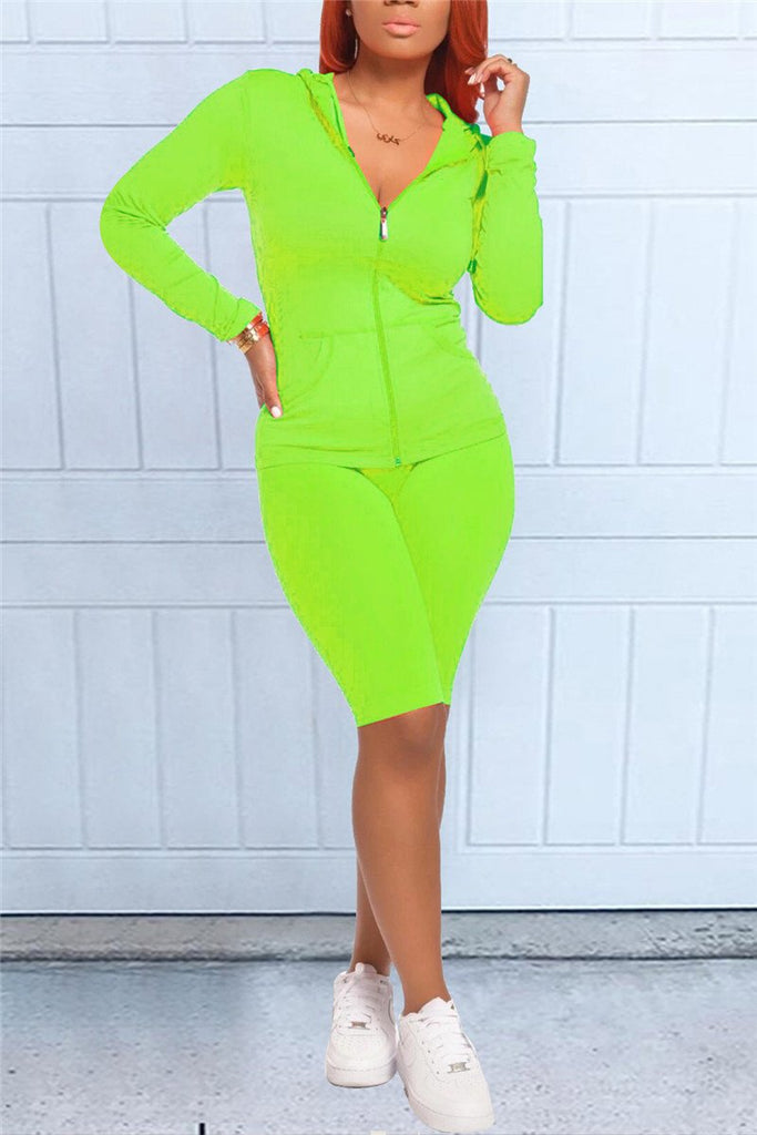 Zip Up Solid Color Hooded Casual Two Piece Sets