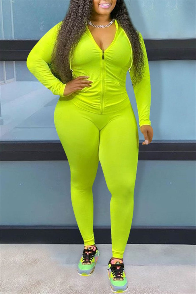 Plus Size Zip Up Solid Color Two Piece Sets