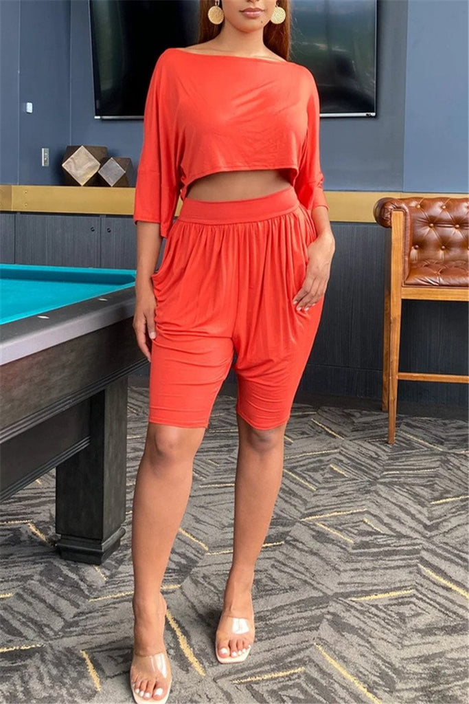 Solid Color Pocket Casual Two Piece Sets