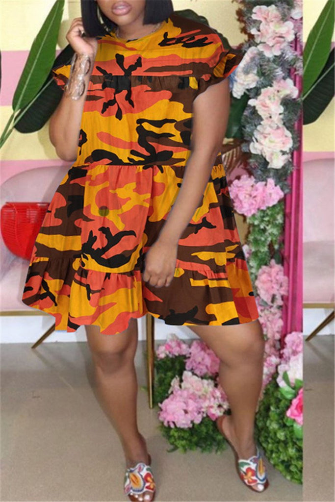 Camouflage Print Plus Size Ruffled Dress