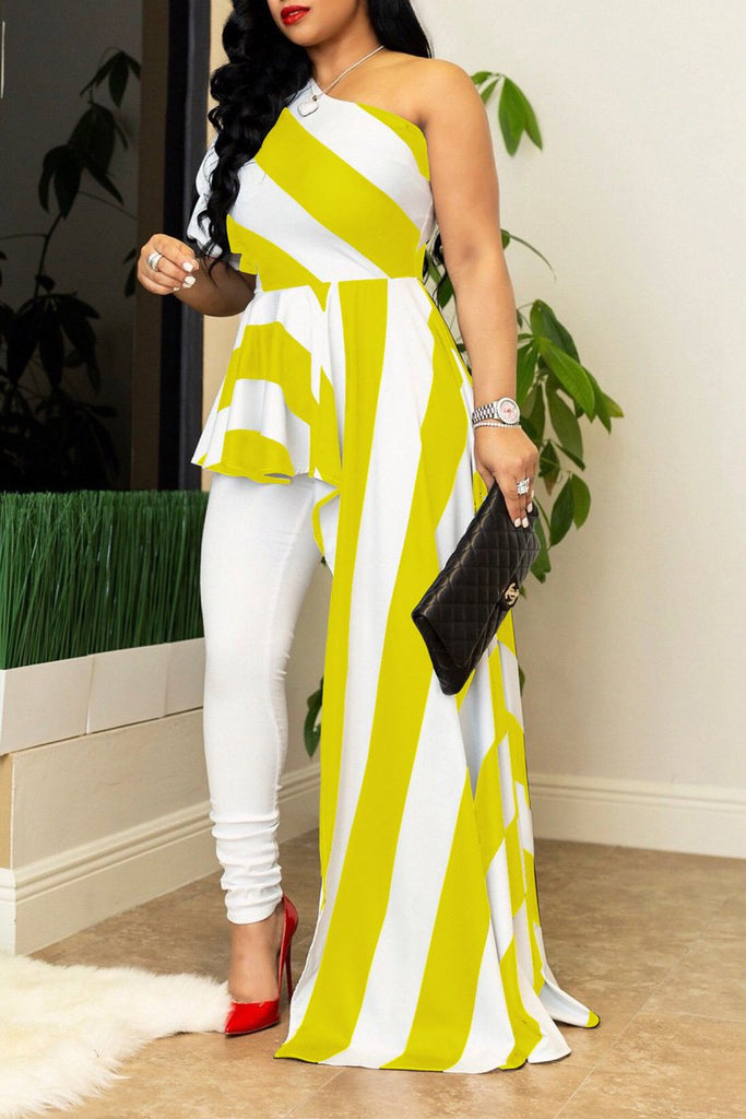 Stripe Print Asymmetric Hem Plus Size Dress