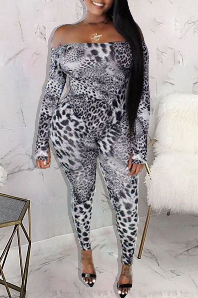 Off The Shoulder Leopard Print Jumpsuit Without Belt