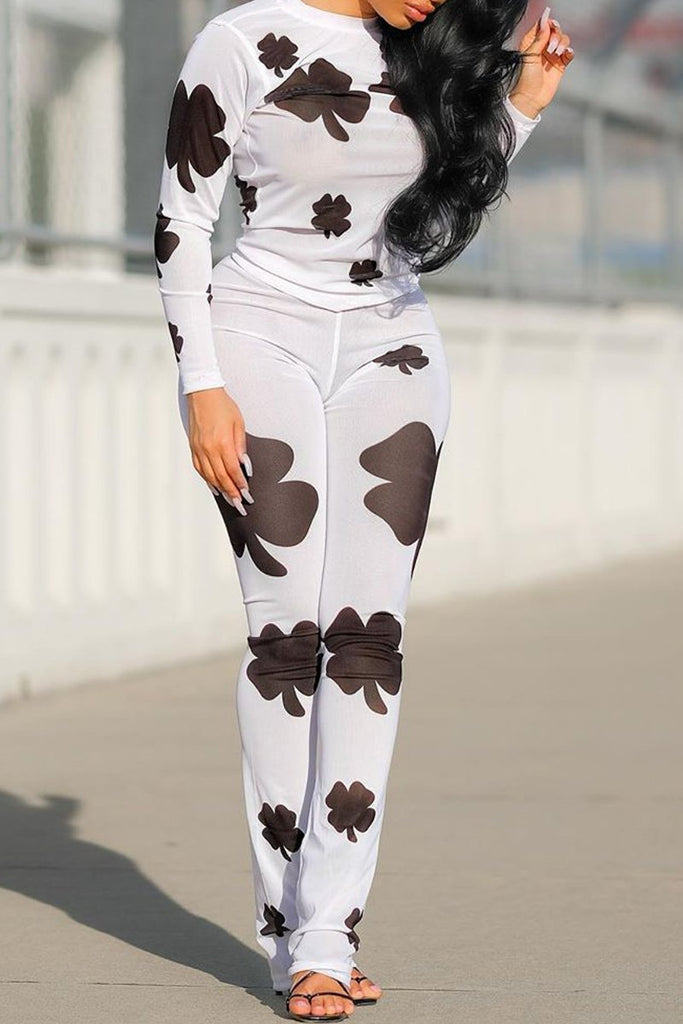 Placement Print Long Sleeve Top & Pants