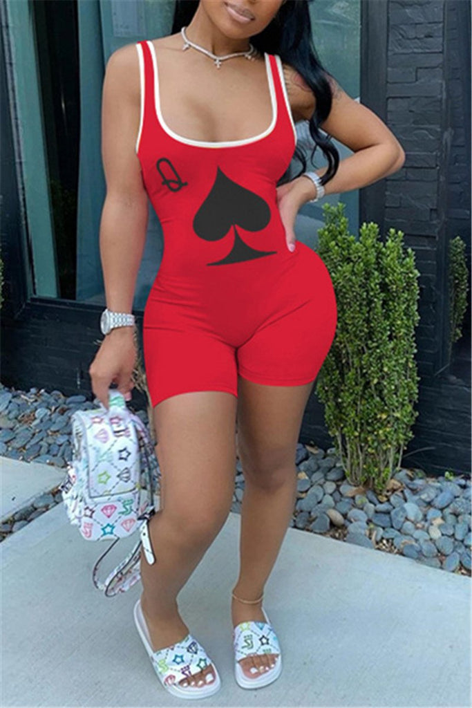 Poker Print Sleeveless Plus Size Romper