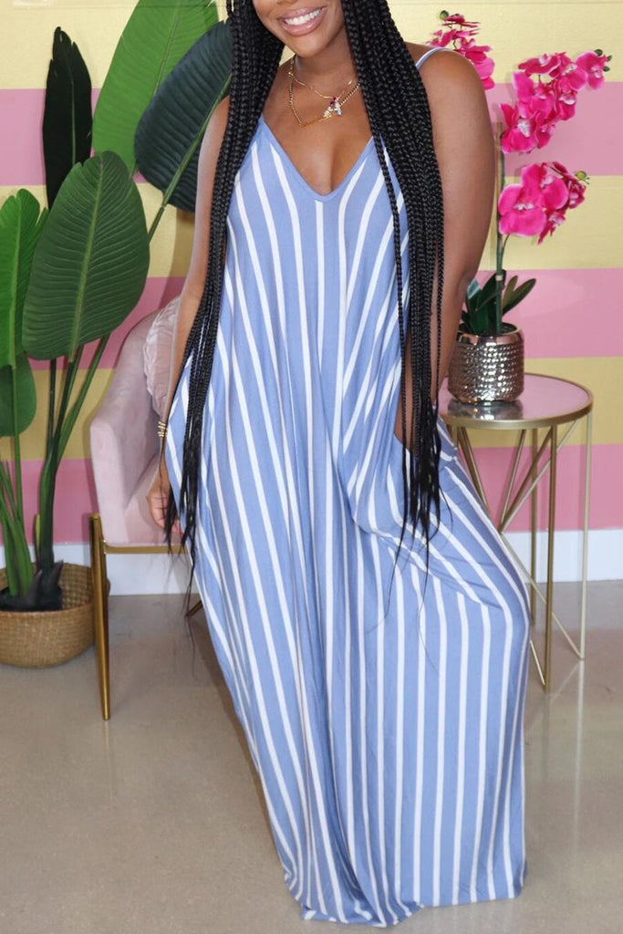 Striped Halter V-Neck Maxi Dress
