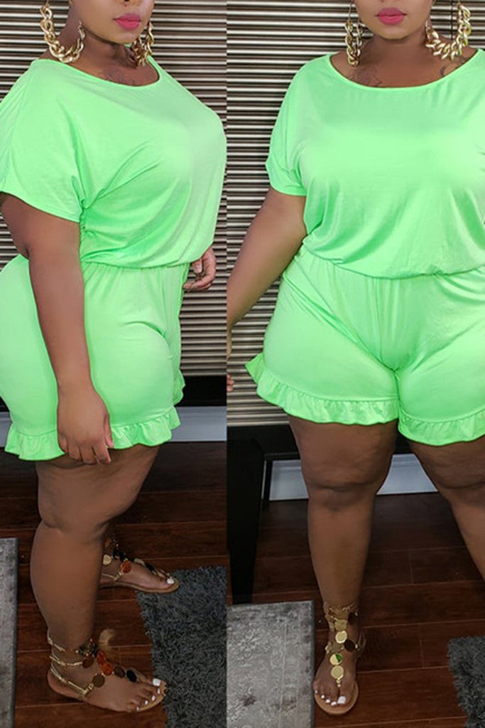 Solid Color Ruched Plus Size Romper