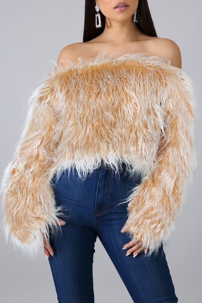 Fur Flared Sleeve Solid Color Top