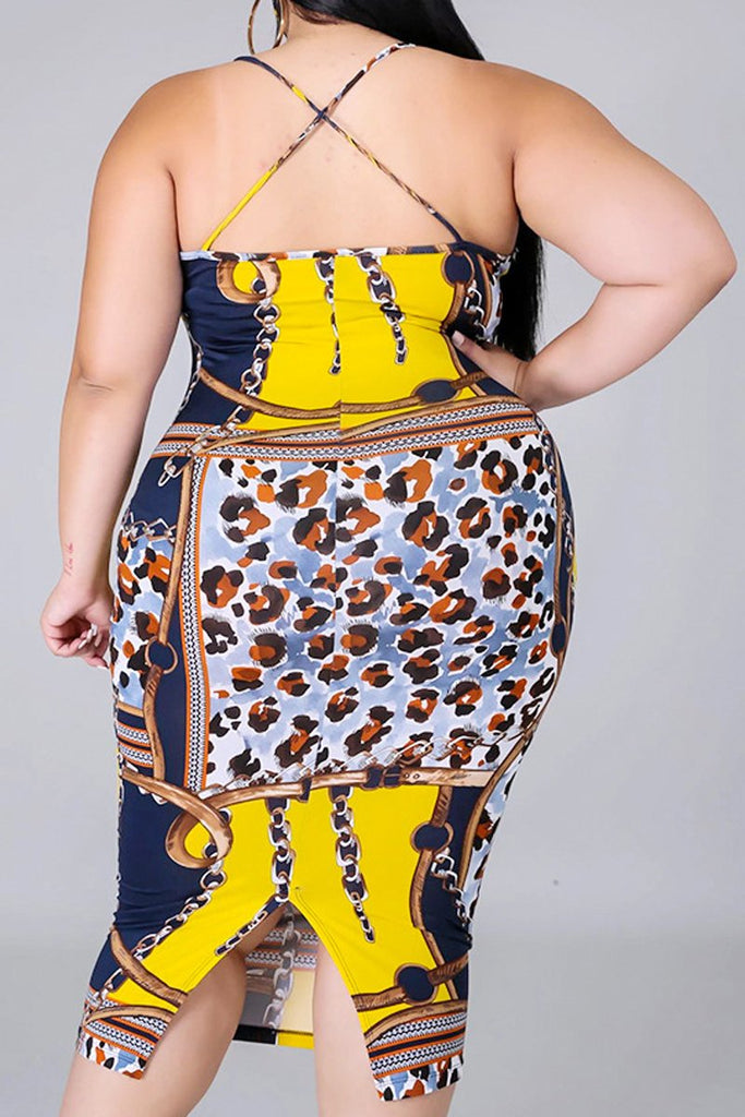 Printed Sleeveless Plus Size Midi Dress