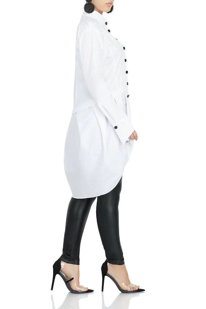 Irregular Hem Button Shirt Dress Without Belt