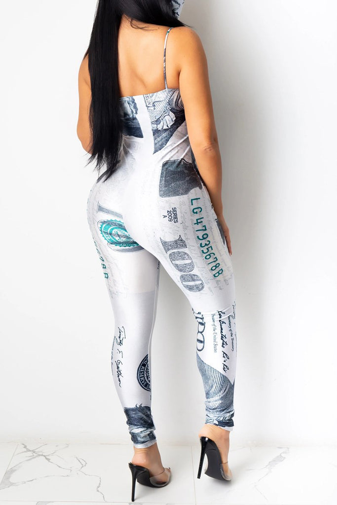 Halter Dollar Printing Sleeveless Jumpsuit