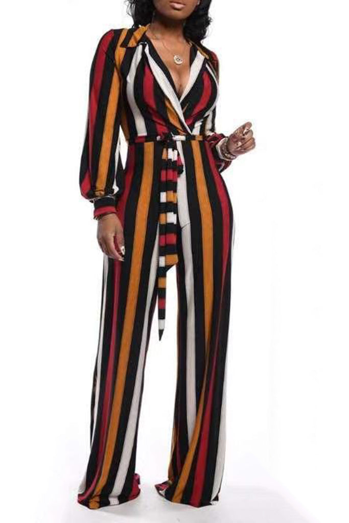 Rainbow Striped Lantern Sleeve Jumpsuit With Belt