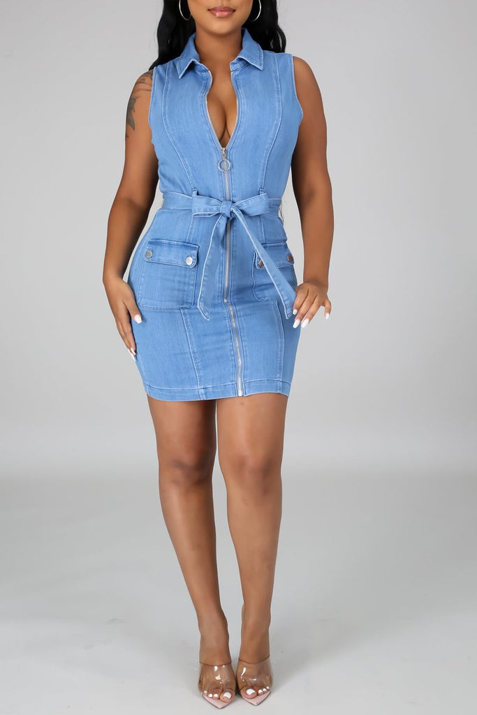 Denim Belted Zipper Sleeveless Mini Dress