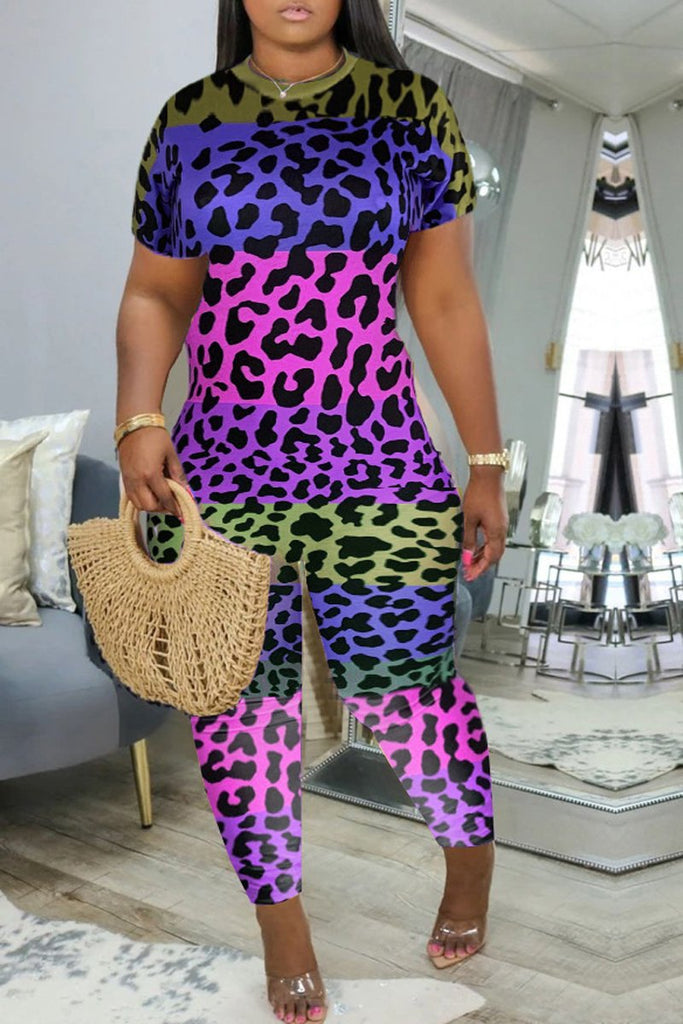 Leopard Color Patchwok Plus Size Jumpsuit