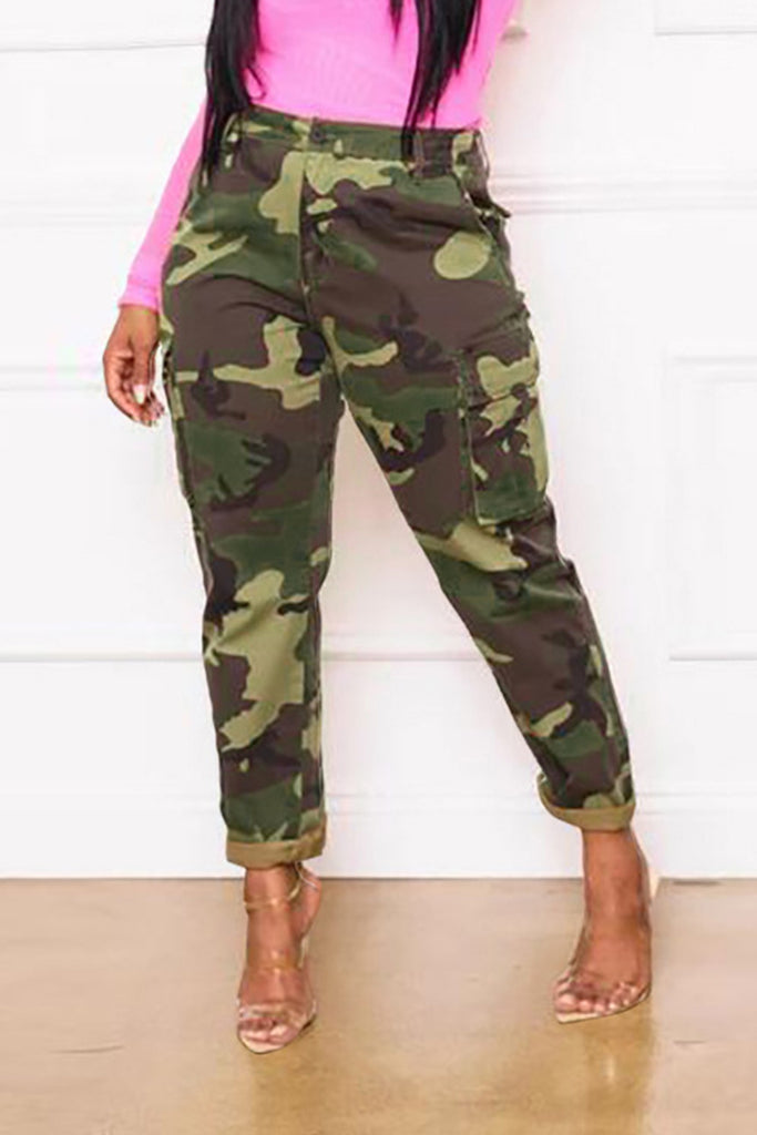 Camouflage Print Pocket Pants