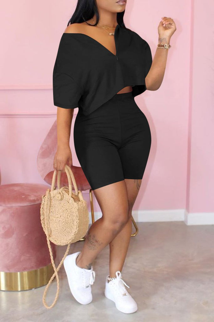 Zipper Short Sleeve Plus Size Top & Shorts