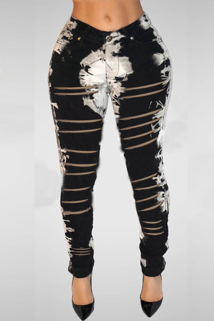 Hollow Out Plus Size Graffiti Print Pants