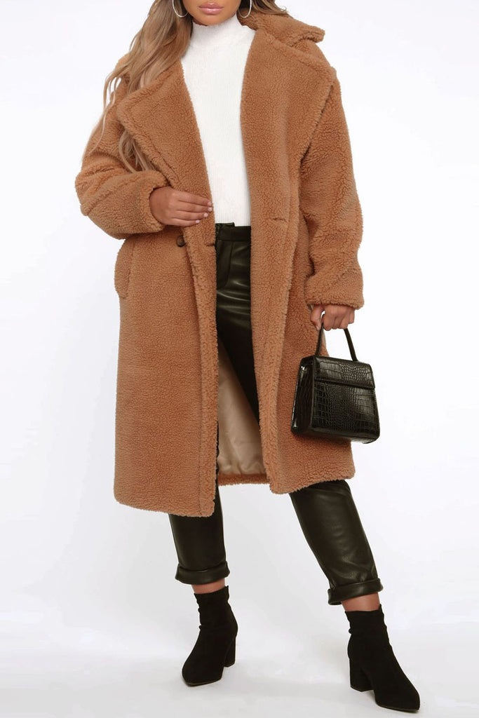 Plush Thicken Wide Lapel Pocket Coat