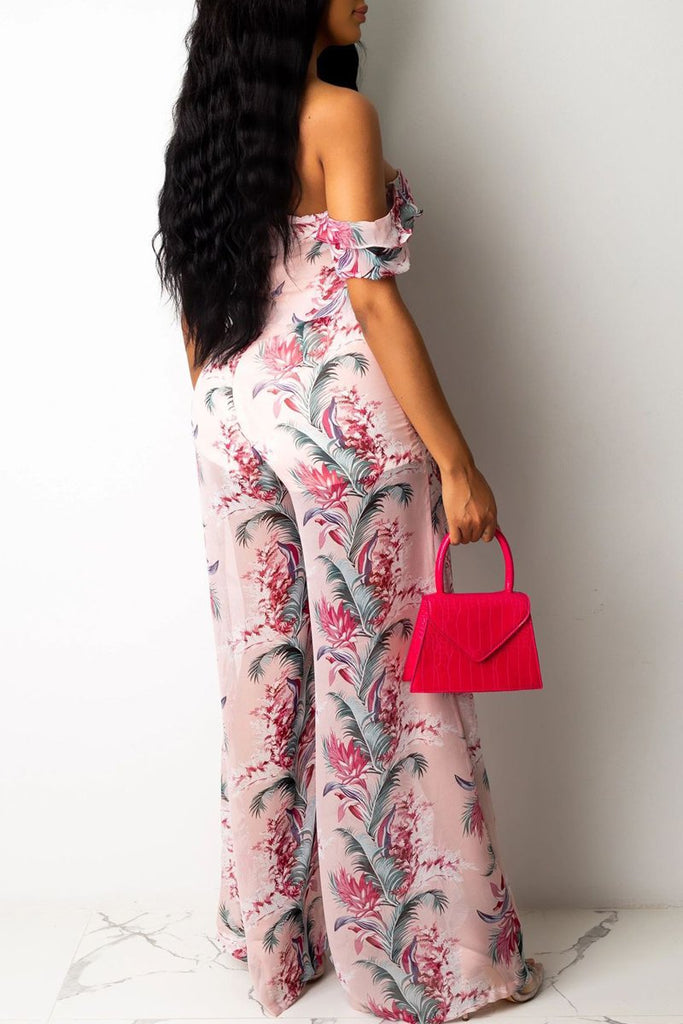 Plus Size Off The Shoulder Print Jumpsuit