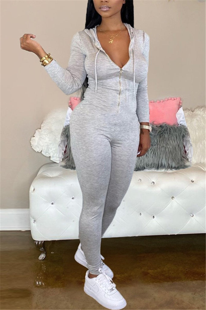 Zip Up Solid Color Hooded Jumpsuit