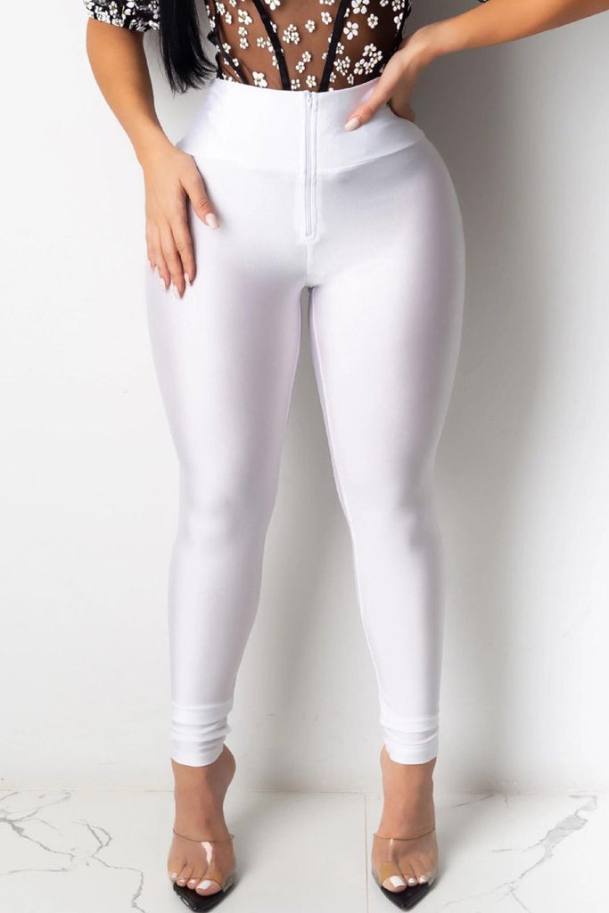 Solid Color High Waist Zipper Pants