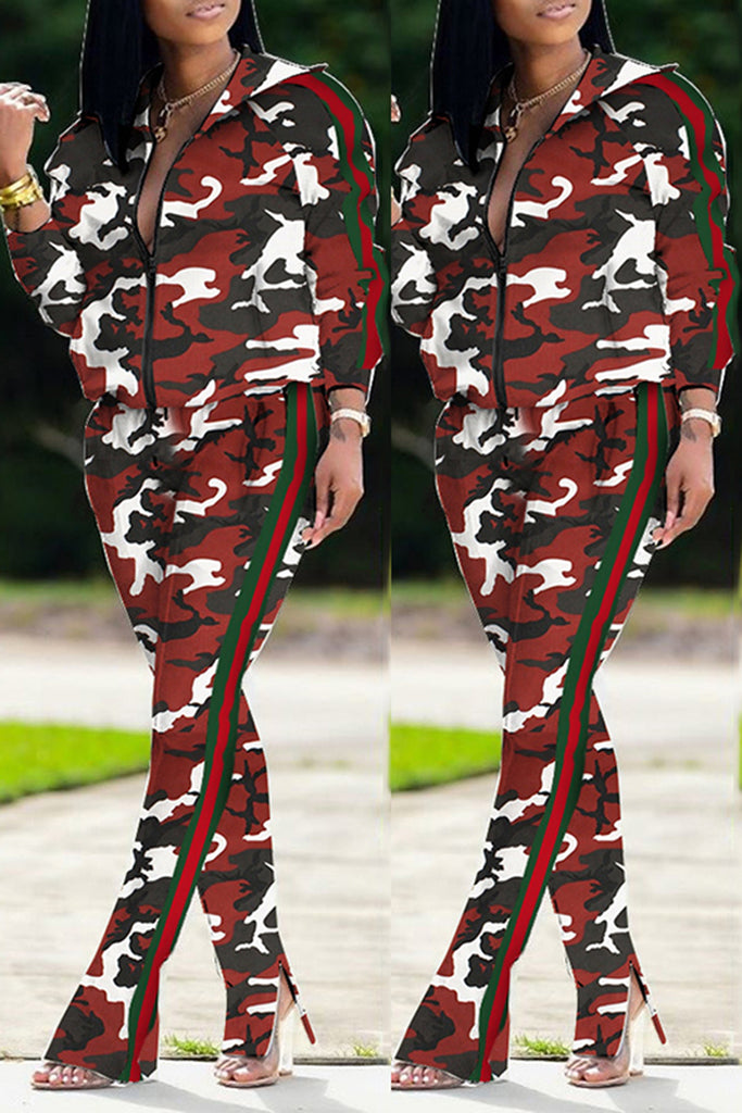 Plus Size Camouflage Print Zipper Two Piece Outfits