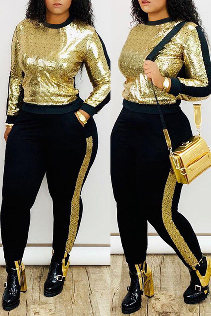 Sequins Plus Size Pocket Patchwork Top & Pants