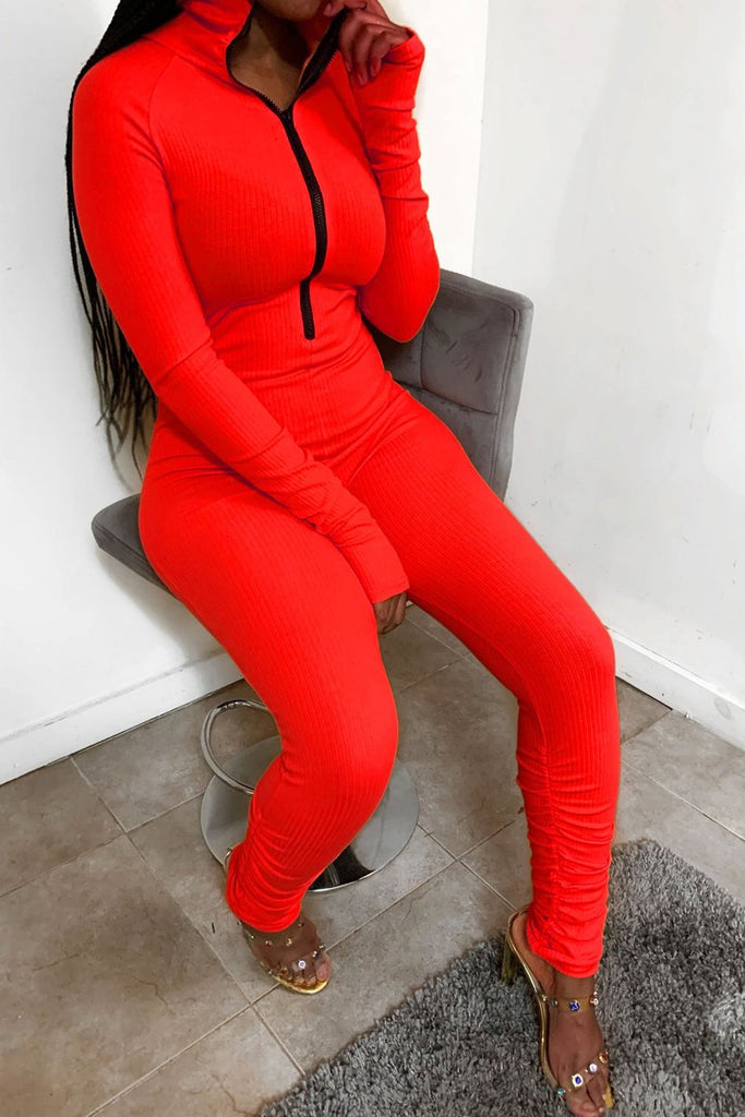 Solid Color Pleated Long Sleeve Jumpsuit