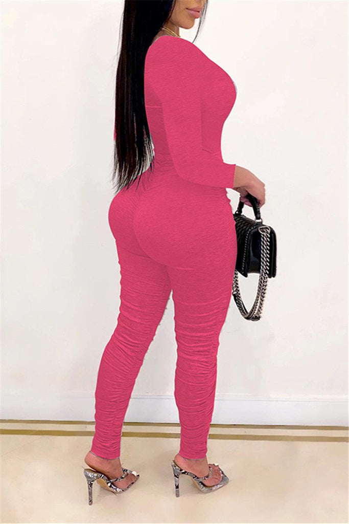 Solid Color Long Sleeve Ruched Jumpsuit
